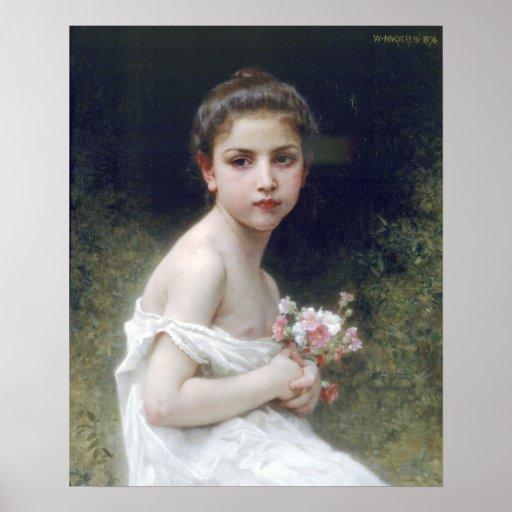 Bouguereau - Petite Fille au Bouquet Poster