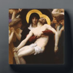 "Bouguereau Pieta Plaque<br><div class=""desc"">Bouguereau Pieta plaque. Oil painting on canvas from 1876. Neoclassicist William Bouguereau regularly drew inspiration from religious themes. His Pieta is his most famous and celebrated religious painting. Featuring the Virgin Mary holding the body of the crucified Jesus Christ, the painting is both moving and captivating. The Virgir looks forward...</div>"