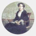 Bouguereau - Portrait de Genevieve Bouguereau Etiqueta Redonda