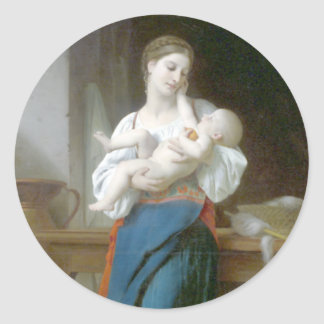 Bouguereau - Premieres Caresses Classic Round Sticker