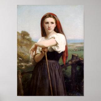 Bouguereau Shepherdess Poster