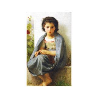 Bouguereau The Little Knitter Canvas Print