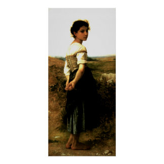 Bouguereau's 1895 Painting: The Young Shepherdess Poster
