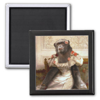 Bouguereau's Chimp 2 Inch Square Magnet
