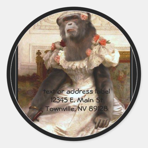 Bouguereau's Chimp Round Sticker