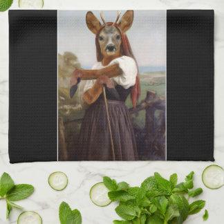 Bouguereau's Dearest Deer Shepherdess Hand Towels