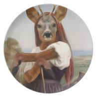 Bouguereau's Dearest Deer Shepherdess Plate