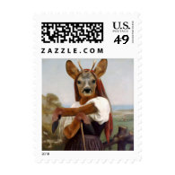 Bouguereau's Dearest Deer Shepherdess Postage