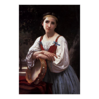 Bouguereau's Gypsy Girl with a Basque Drum (1867) Poster