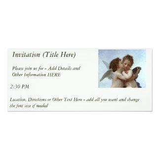 Bouguereau's L'Amour et Psyche, enfants (Cupid) 4x9.25 Paper Invitation Card