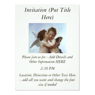 Bouguereau's L'Amour et Psyche, enfants (Cupid) 6.5x8.75 Paper Invitation Card