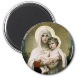 Bouguereau's The Madonna of the Roses (1903) 2 Inch Round Magnet
