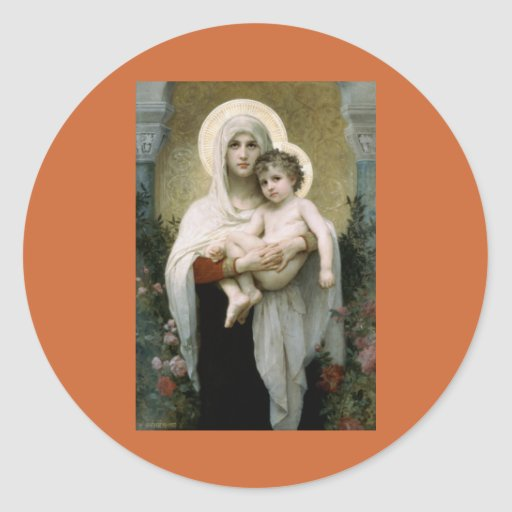 Bouguereau's The Madonna of the Roses (1903) Classic Round Sticker