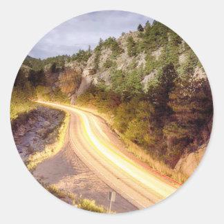 Boulder_Canyon_Beams_Light.jpg Round Sticker