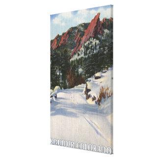 Boulder, Colorado - Flatirons en invierno Lona Envuelta Para Galerias