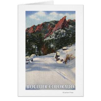 Boulder, Colorado - Flatirons en invierno Tarjeta De Felicitación