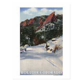 Boulder, Colorado - Flatirons in Winter Postcard