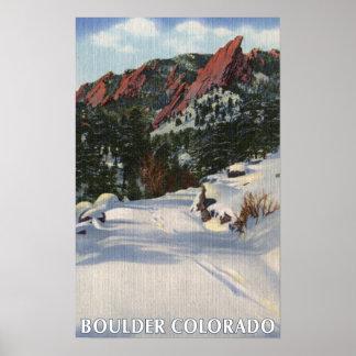 Boulder, Colorado - Flatirons in Winter Poster