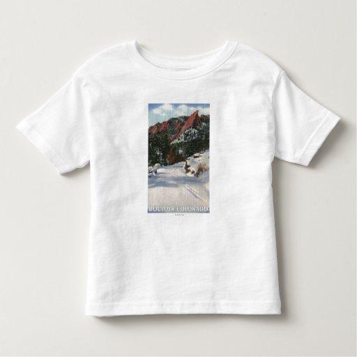 Boulder, Colorado - Flatirons in Winter Toddler T-shirt