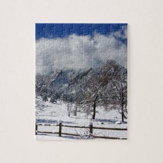 Boulder Colorado Flatirons Snowy Landscape View Puzzle