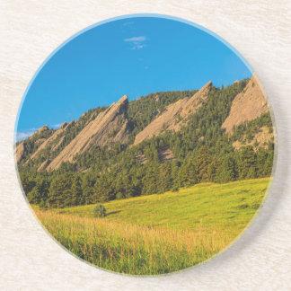 Boulder Colorado Flatirons Sunrise Golden Light Drink Coaster