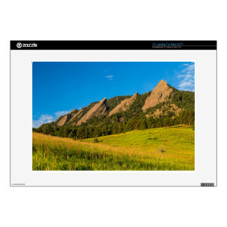 Boulder Colorado Flatirons Sunrise Golden Light Laptop Decals