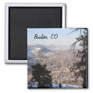 Boulder, Colorado from Above 2 Inch Square Magnet