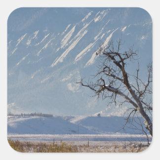 Boulder Colorado Snowy Front Range View.jpg Square Sticker