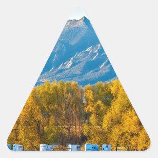 Boulder County Colorado Flatirons Autumn View.jpg Triangle Sticker
