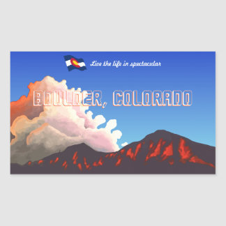 Boulder Flatiron Sunset Rectangular Stickers