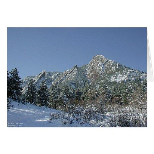 Boulder Flatirons in Snow Greeting Card