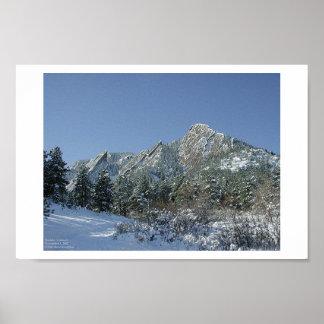 Boulder Flatirons in Snow Poster