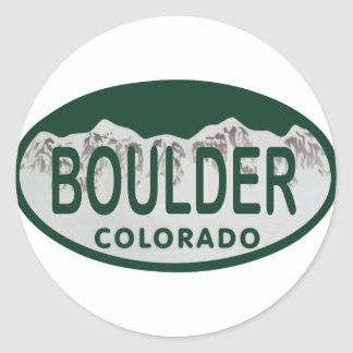 Boulder license oval classic round sticker