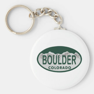 Boulder license oval keychain