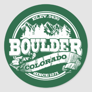 Boulder Old Circle Green Round Stickers