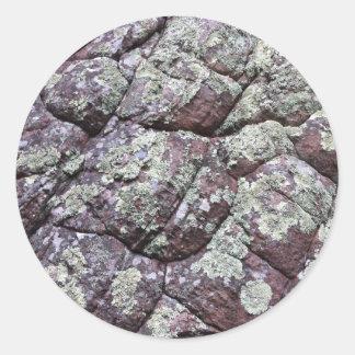 Bouldered Rocks with Lichen Moss Round Sticker