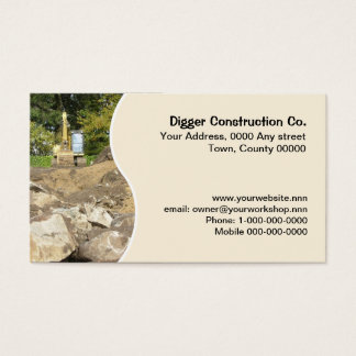 Boulders and yellow excavator business card