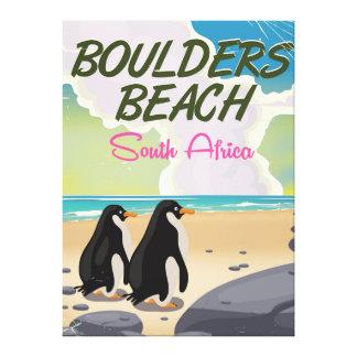 boulders beach South africa cartoon travel posyer Canvas Print