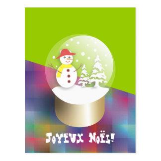 Boule a neige Snow globe carte postale Postcard