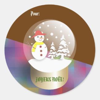 Boule a neige Snow globe Etiquettes cadeaux Classic Round Sticker