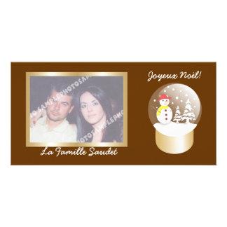 Boule una foto de las cartas del globo de la nieve tarjeta fotografica personalizada