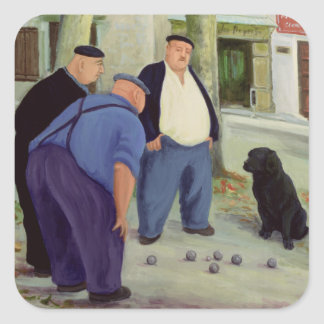 Boules Players Square Sticker