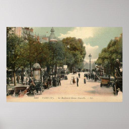 Boulevard Bonne-Nouvelle, Paris 1910 Vintage Print