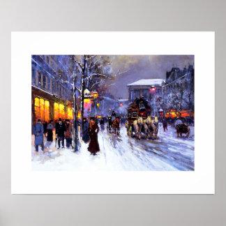 Boulevard de la Madeleine invierno Poster de la