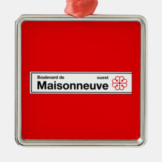 Boulevard de Maisonneuve, placa de calle de Adorno Navideño Cuadrado De Metal