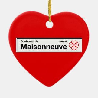 Boulevard de Maisonneuve, placa de calle de Adorno Navideño De Cerámica En Forma De Corazón