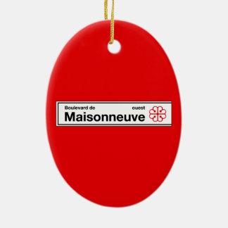 Boulevard de Maisonneuve, placa de calle de Adorno Navideño Ovalado De Cerámica