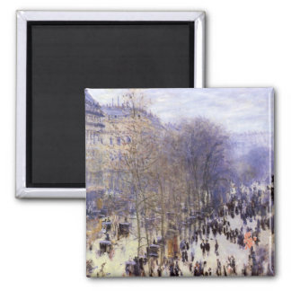 Boulevard des Capucines by Claude Monet, Fine Art 2 Inch Square Magnet