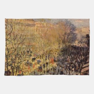 Boulevard des Capucines by Claude Monet, Fine Art Kitchen Towel