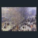 """Boulevard des Capucines by Claude Monet, Fine Art Placemat<br><div class=""""desc"""">Boulevard des Capucines (1873) by Claude Monet is a vintage impressionism fine art cityscape painting featuring a street scene in Paris, France. The Boulevard des Capucines is one of the four &quot;grands boulevards&quot; in Paris, a chain of boulevards running east-west that also includes Boulevard de la Madeleine, Boulevard des Italiens,...</div>"""